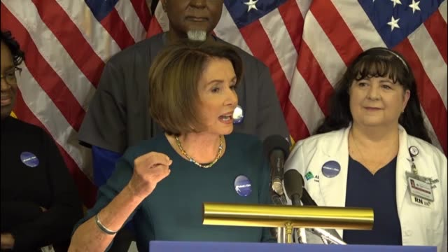 House Minority Leader Nancy Pelosi of California takes questions from reporters suggesting that the day after the Trump inauguration there was an...