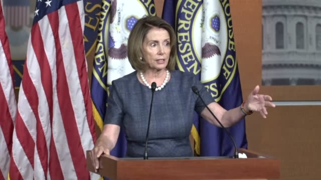 house minority leader nancy pelosi of california takes questions from reporters at the first regular briefing after returning from summer break asked... - nancy pelosi stock videos and b-roll footage