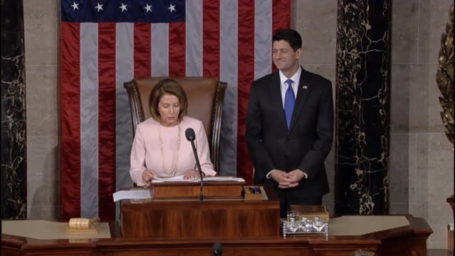 House Minority Leader Nancy Pelosi of California tells members of the house that their first responsibility is to secure the nation embodied in the...