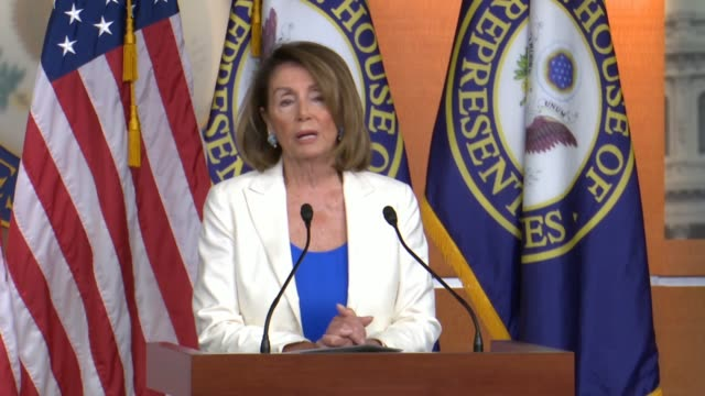 House Minority Leader Nancy Pelosi of California tells reporters after a Helsinki meeting that President Donald Trump had degraded the office of the...