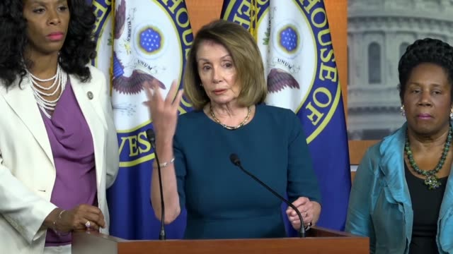 house minority leader nancy pelosi of california tells reporters at a news conference that republicans had taken the country $2 trillion into debt... - dime stock videos and b-roll footage