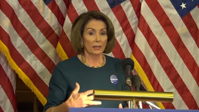House Minority Leader Nancy Pelosi of California tells reporters at a weekly briefing that an executive order by President Trump effecting a federal...