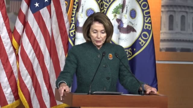 house minority leader nancy pelosi of california tells reporters at a weekly press conference that an executive action restricting entrance into the... - joint chiefs of staff stock videos and b-roll footage