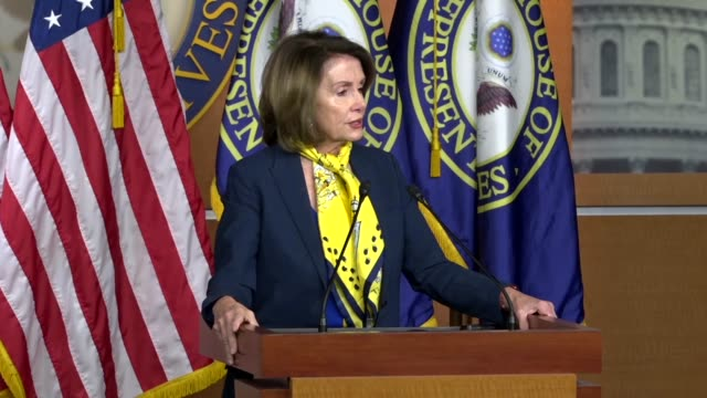 House Minority Leader Nancy Pelosi of California tells reporters at a weekly briefing that a back and forth over gun violence had been seen before as...