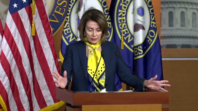 vídeos y material grabado en eventos de stock de house minority leader nancy pelosi of california tells reporters at a weekly briefing that every day since this tax cuts and jobs act was passed... - salarios