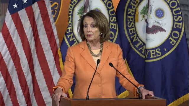 house minority leader nancy pelosi of california tells reporters that there is a proposed scope of the look into russian involvement in the 2016... - fadenkreuz stock-videos und b-roll-filmmaterial