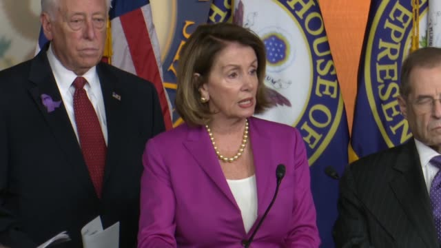 vídeos de stock, filmes e b-roll de house minority leader nancy pelosi of california tells reporters that democrats had written letters to hhs and cms requesting documents on the... - condição