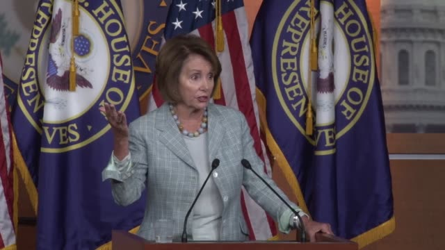 house minority leader nancy pelosi responds to questions claiming arming military recruiters is up to the military - 国防省点の映像素材/bロール