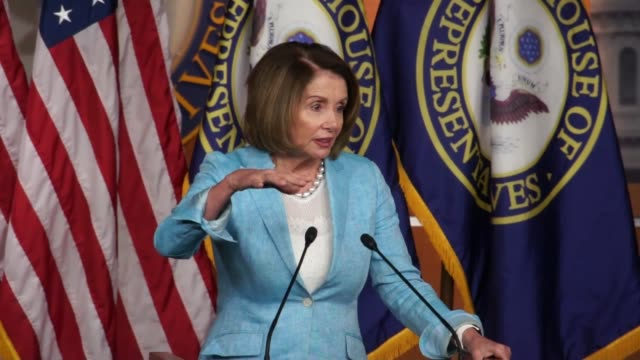 house minority leader nancy pelosi takes from reporters at a weekly briefing first about a change by republicans to the appropriations process to... - dose stock videos & royalty-free footage