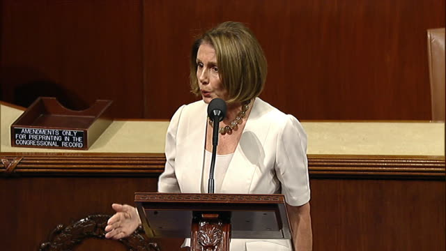 vídeos y material grabado en eventos de stock de house minority leader nancy pelosi talks about budgeting for entitlement in the budget control act of 2011 shortly before that act is passed through... - united states and (politics or government)