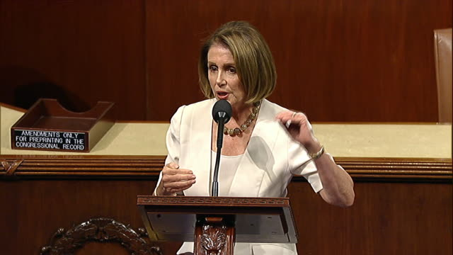 stockvideo's en b-roll-footage met house minority leader nancy pelosi talks about policies that foster inequality that exist in budget control act of 2011 shortly before that act is... - united states and (politics or government)