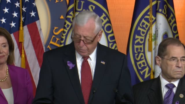 house minority whip steny hoyer of maryland tells reporters that the trump justice department would allow insurers to drop americans with preexisting... - 状態点の映像素材/bロール