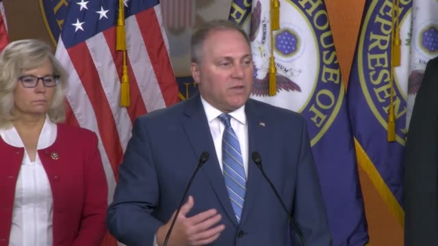 house minority whip steve scalise of louisiana says at a weekly press conference that he commends president donald trump for getting an agreement... - donald trump us president stock videos and b-roll footage