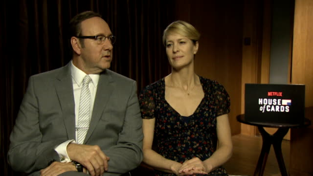 kevin spacey and robin wright england london int kevin spacey and robin wright interview sot **audio as incoming mute** michael kelly interviews sot - robin wright stock videos and b-roll footage