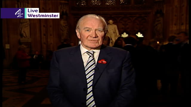 house of commons debate on iraq war england london westminster house of commons int sir menzies campbell mp wearing poppy live 2way interview from... - sir menzies campbell bildbanksvideor och videomaterial från bakom kulisserna