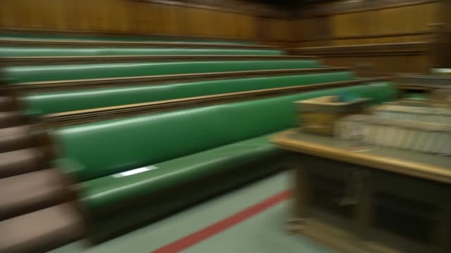 house of commons interior gvs; england: london: westminster: houses of parliament: int various interior gvs of empty house of commons chamber - house of commons stock videos & royalty-free footage