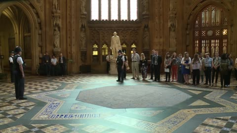 house of commons meets for first time since election: speakers procession; england: london: westminster: house of commons: int father of the house... - house of commons stock videos & royalty-free footage