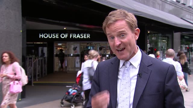 house of fraser to close 31 stores; oxford street: ext general view house of fraser department store entrance reporter to camera - commercial activity stock videos & royalty-free footage
