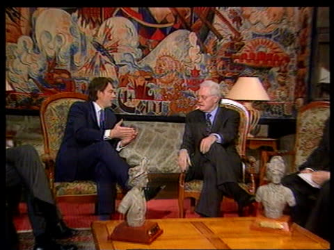 conservative split; pool france: st malo: british prime minister tony blair mp sitting with prime minister lionel jospin british prime minister tony... - lionel blair stock videos & royalty-free footage