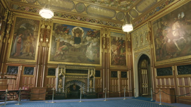 house of lords interior, westminster, uk - uk video stock e b–roll