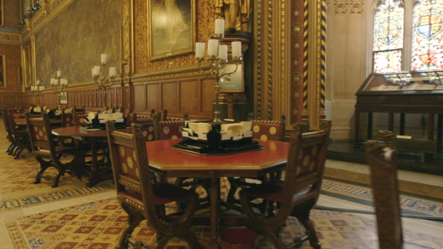house of lords interior, westminster, uk - cultura britannica video stock e b–roll