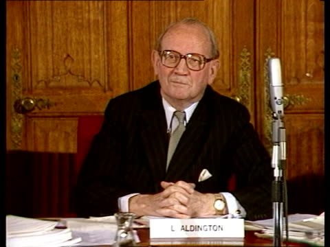 house of lords select committee itn speaking sof you have in the british industry cms lord aldington listens ms peter comins speaking sof and... - john scott stock videos and b-roll footage