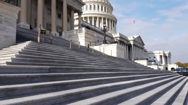 U.S. House of Representatives and U.S. Capitol Building East Facade in Washington, DC - 4k/UHD