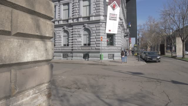 house of terror on andrassy during winter, budapest, hungary, europe - eastern european culture stock videos & royalty-free footage