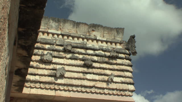 MS House of the Birds with bird motifs at pre-Columbian ruined city of Maya civilization / Uxmal, Yucatan, Mexico
