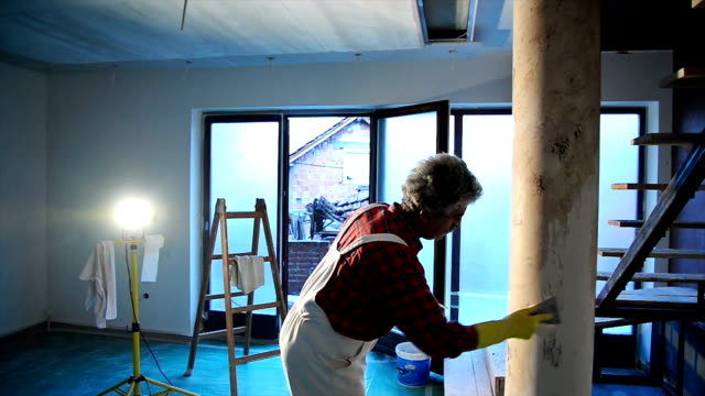 house painter painting residential home interior - house painter stock videos and b-roll footage