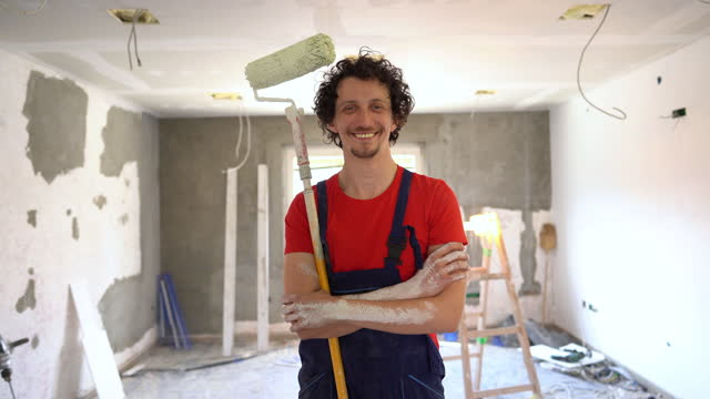 house painter portrait - decorating stock videos & royalty-free footage