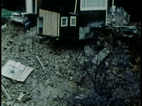 house perched on top of landslide / house debris - 1978 stock videos & royalty-free footage