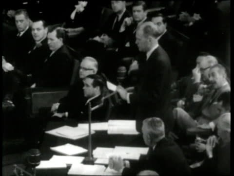 us house representative gerald ford nominates us congressman charles a halleck for speaker of the house for the 88th congress - membro del congresso video stock e b–roll