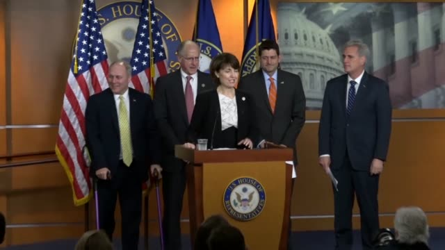 stockvideo's en b-roll-footage met house republican conference chair cathy mcmorris rodgers opens a press briefing with republican leaders to celebrate the 70th anniversary of israel... - republikeinse partij vs
