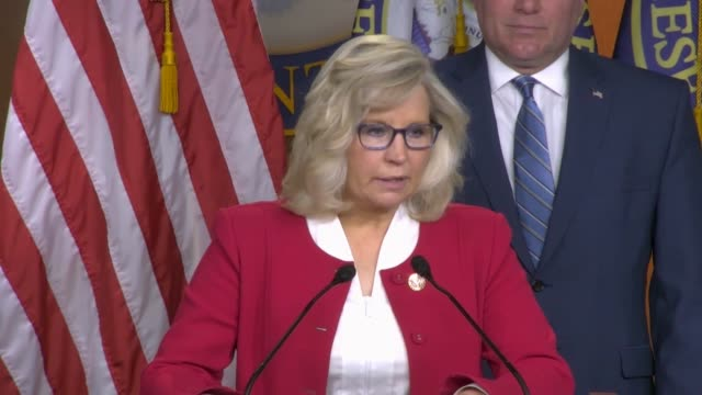 stockvideo's en b-roll-footage met house republican conference chair elizabeth cheney of wyoming says at a weekly press briefing that president donald trump had taken action on... - republikeinse partij vs