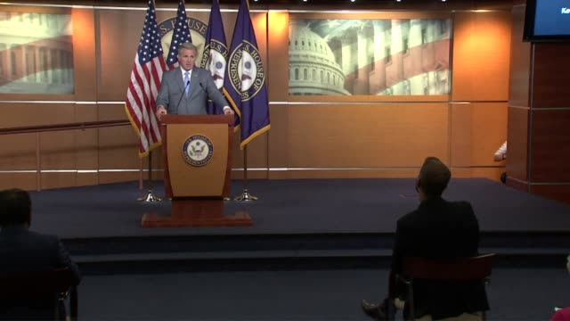 house republican leader kevin mccarthy is asked by a reporter at a weekly press conference about members being asked to wear masks on the floor and... - dozen stock videos & royalty-free footage