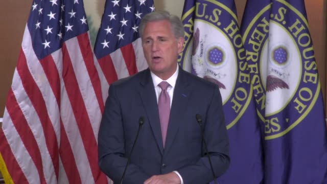 house republican leader kevin mccarthy of california is asked by a reporter at a weekly press conference whether he believed it was time to remove... - legislator stock videos & royalty-free footage