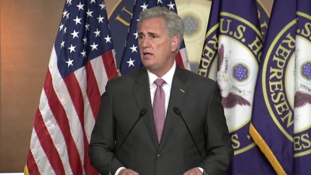 house republican leader kevin mccarthy of california is asked by a reporter about safety concerns in jacksonville florida for the republican national... - jacksonville florida video stock e b–roll