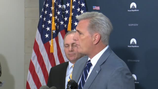 House Republican leader Kevin McCarthy of California tells reporters after a briefing with White House officials on border security on the 18th day...
