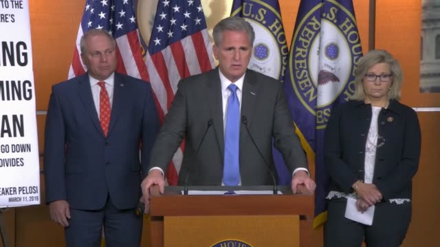 house republican leader kevin mccarthy of california tells reporters at a press conference hours after the house select intelligence committee... - cnn stock videos & royalty-free footage