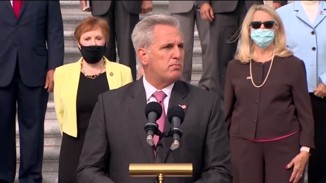 house republican leader kevin mccarthy says at event accompanied by republicans to introduce their commitment to america program at base of east... - partisan politics stock videos & royalty-free footage