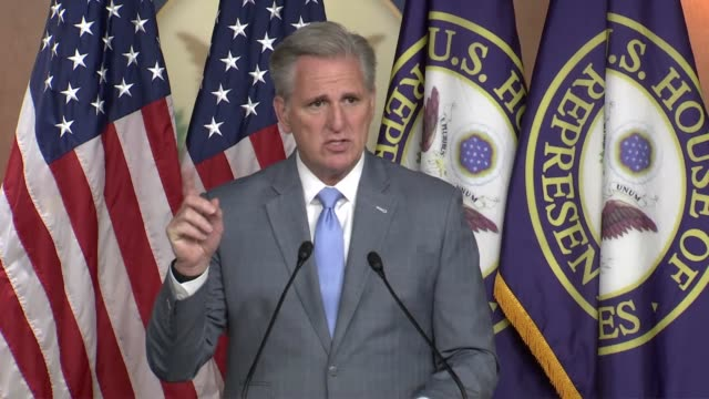 house republican leader kevin mccarthy wonders at a weekly press conference why democrats are hesitant to hold china accountable, wondering what the... - persuasion stock videos & royalty-free footage
