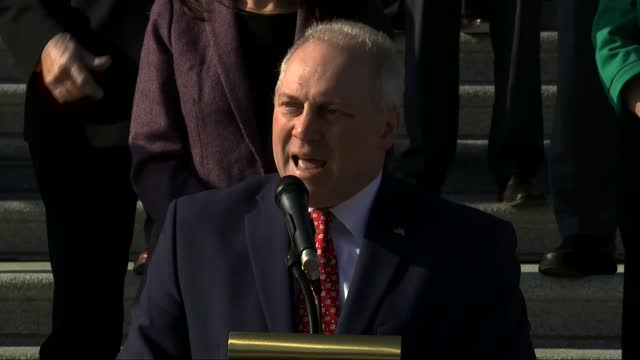 house republican whip steve scalise of louisiana says at a news event at east front of the us capitol building to push for extending the paycheck... - thanksgiving politics stock videos & royalty-free footage