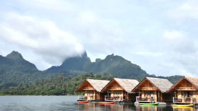 house Resort in Ratchaprapha Dam at Khao Sok National Park,Thailand, time lapse