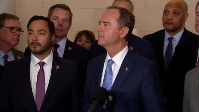 house select intelligence committee chairman adam schiff of california answers reporter questions moments after a public impeachment hearing with... - 米民主党点の映像素材/bロール