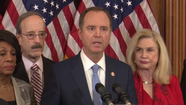 house select intelligence committee chairman adam schiff of california says at a press conference announcing articles of impeachment against... - awe stock videos & royalty-free footage