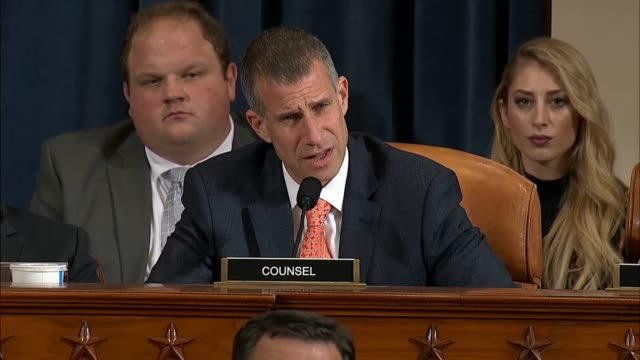 house select intelligence committee minority counsel sean castor asks former us ambassador to ukraine marie yovanovitch at the second public... - donald trump us president stock videos and b-roll footage