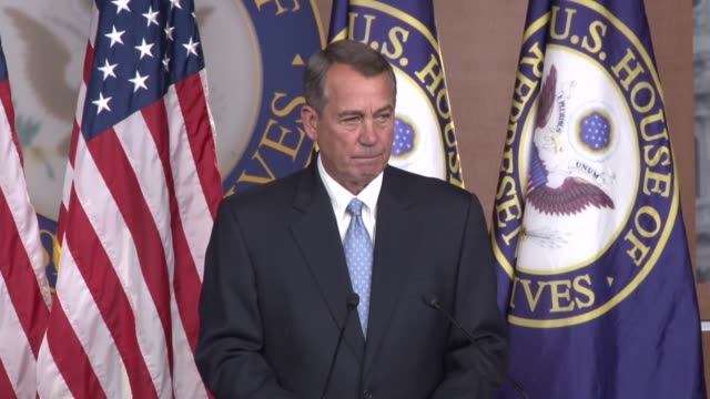 house speaker john boehner of ohio asked by a reporter that post midterm briefing about legislating immigration reform in the next congress - speaker of the house stock videos and b-roll footage