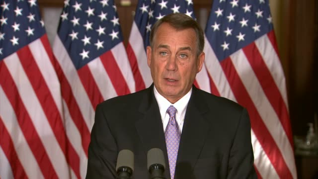 house speaker john boehner of ohio says an executive order of president barack obama punishes legal immigrants puts lives at risk damages the office - speaker of the house stock videos and b-roll footage