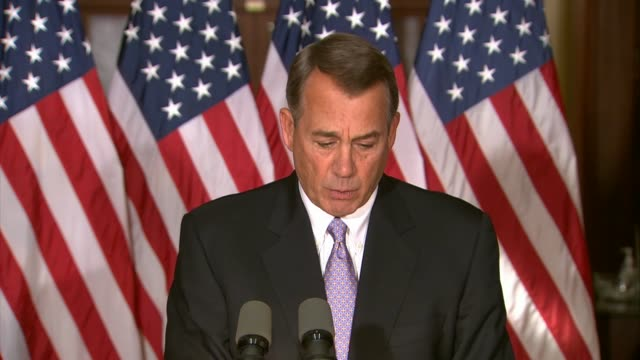 house speaker john boehner of ohio says the president did not listen before issuing controversial executive order exacerbated humanitarian crisis... - speaker of the house stock videos and b-roll footage